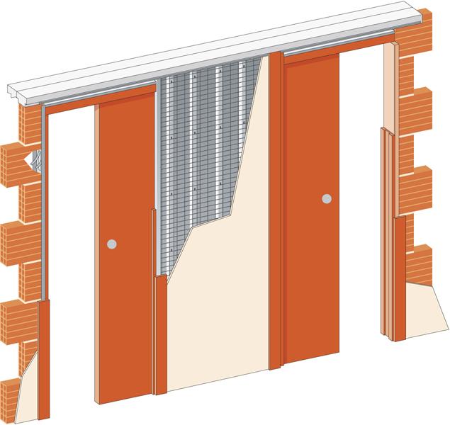 Stavební pouzdro JAP 720 NORMA LINE - UNIBOX - ZEĎ 2x600 mm Výška: 197cm, Orientace otevírání: Levé