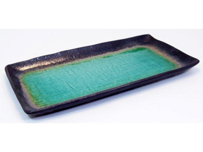 Talíř na sushi tyrkysovo bronzový velký ( YA3 )