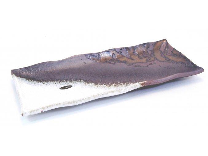Talířek na sushi bílo hnědo bronzový ( IM211/WK )