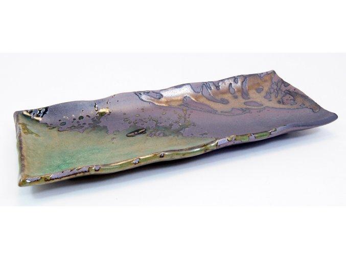 Talíř na sushi zeleno hnědo bronzový obdelník ( IM211/IK )