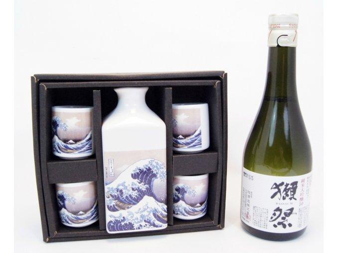 Sake Vánoční Set s motivy vlny a s rýžovým vínem Dassai 300 ml
