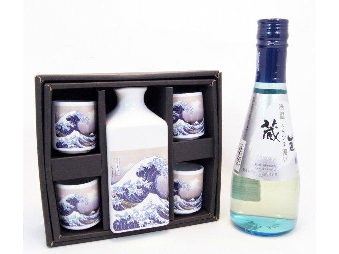 Sake Dárkový Set s motivy vlny a s rýžovým vínem Kuranama 300 ml