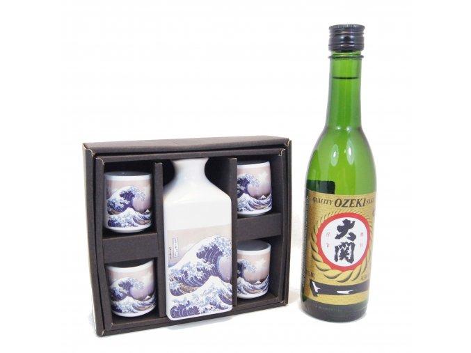 Sake Dárkový Set s motivy vlny a s rýžovým vínem Ozeki 375 ml