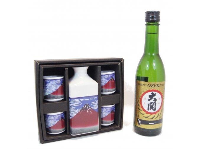 Sake Vánoční Set s motivy Fuji a s rýžovým vínem Ozeki 375 ml