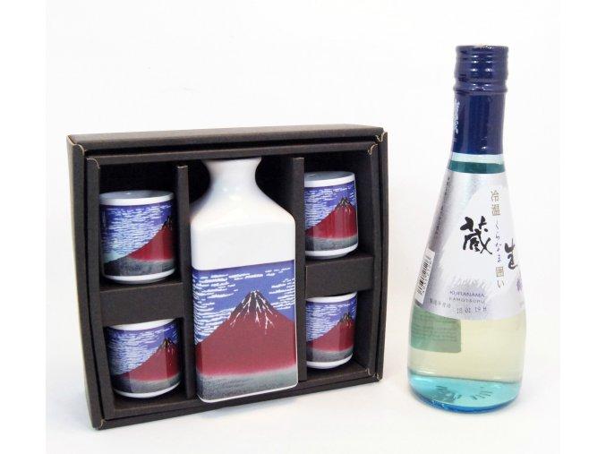 Sake Dárkový Set s motivy Fuji a s rýžovým vínem Kuranama 300 ml