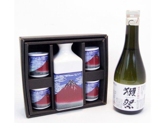 Sake Vánoční Set s motivy Fuji a s rýžovým vínem Dassai 300 ml