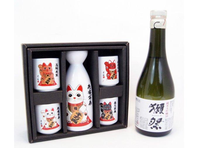Sake Vánoční Set s kočičími motivy a s rýžovým vínem Dassai 300 ml