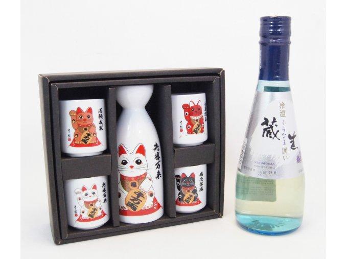 Sake Dárkový Set s kočičími motivy a s rýžovým vínem Kuranama 300 ml