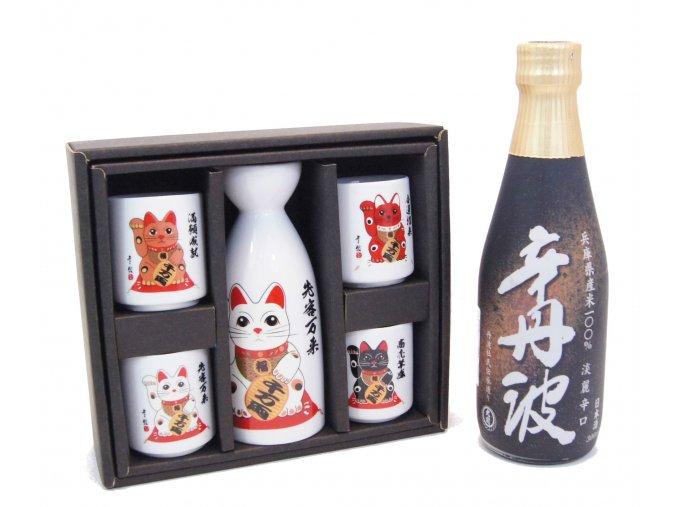 Sake Vánoční Set s kočičími motivy a s rýžovým vínem Karatanba 300 ml