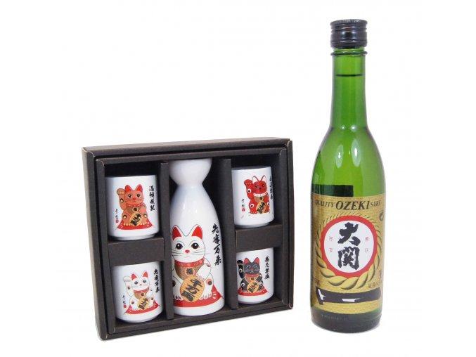 Sake Dárkový Set s kočičími motivy a s rýžovým vínem Ozeki 375 ml