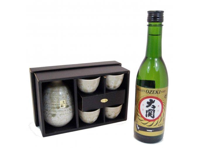 Sake Vánoční set zelený s rýžovým vínem Ozeki 375 ml