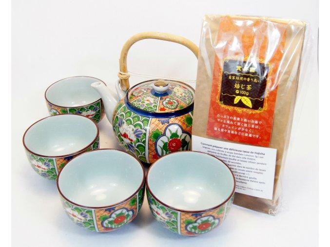 Čajový Dárkový set se zeleným praženým čajem Hojicha 100 g