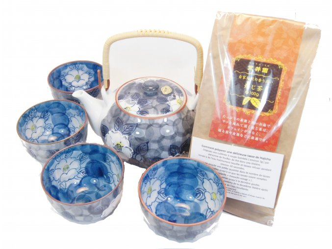 Čajový Vánoční set modrý se zeleným praženým čajem Hojicha 100 g