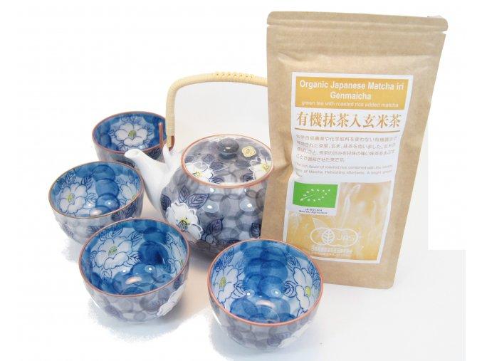 Čajový Dárkový set modrý s zeleným čajem Genmaicha a Matcha 100 g