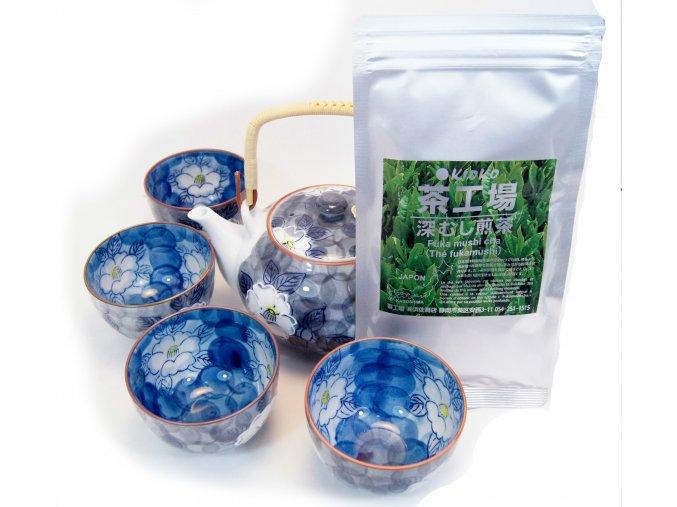 Čajový Vánoční set modrý s zeleným čajem Sencha 50 g