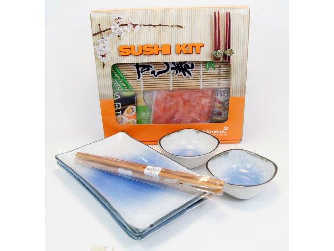 Sushi Dárkový set modrobílý s balíčkem na přípravu Sushi