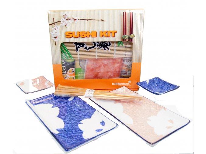 Sushi Dárkový set oranžovomodrý s balíčkem na přípravu Sushi