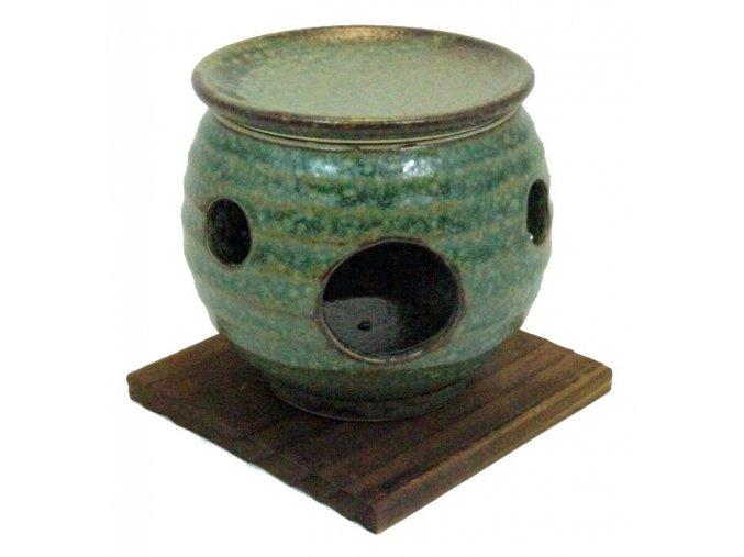 Keramický opařovač vonných olejů (zelený)