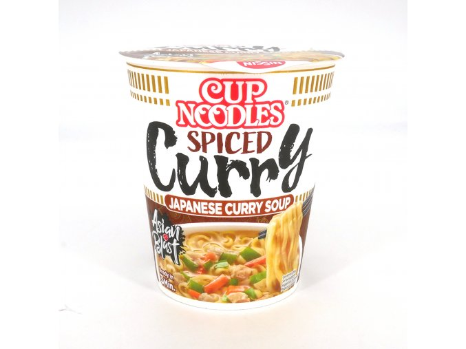 cup of instant ramen with spicy curry flavor nissin cup noodle