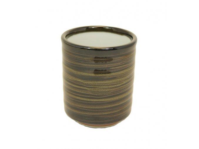 Keramický hrnek na čaj žíhaný černý