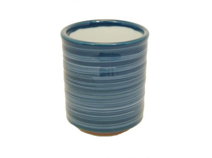 Keramický hrnek na čaj žíhaný modrý