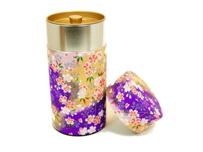 Dóza na čaj fialová s květinovými motivy