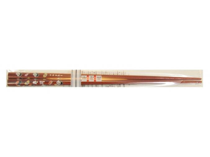 Dřevěné hůlky hnědé s motivem sushi obrázků