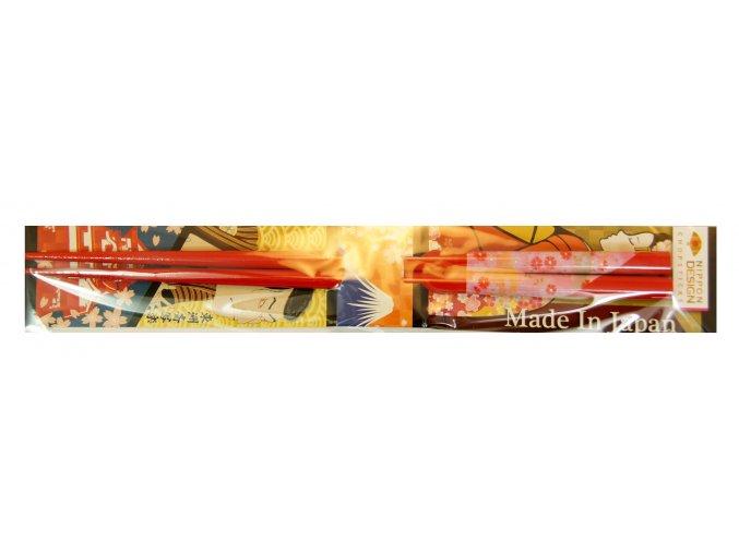 Nippon Desing hůlky červené s motivem květů