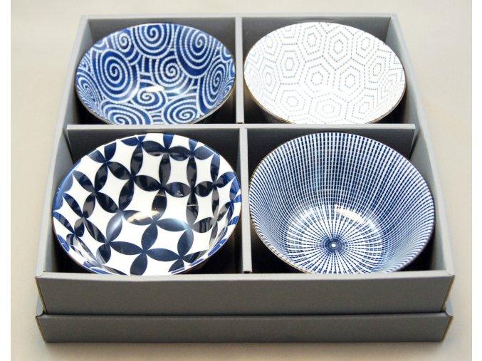 Tokyo Set čtyř misek, bílá s tmavě modrými vzory ( 7055 )