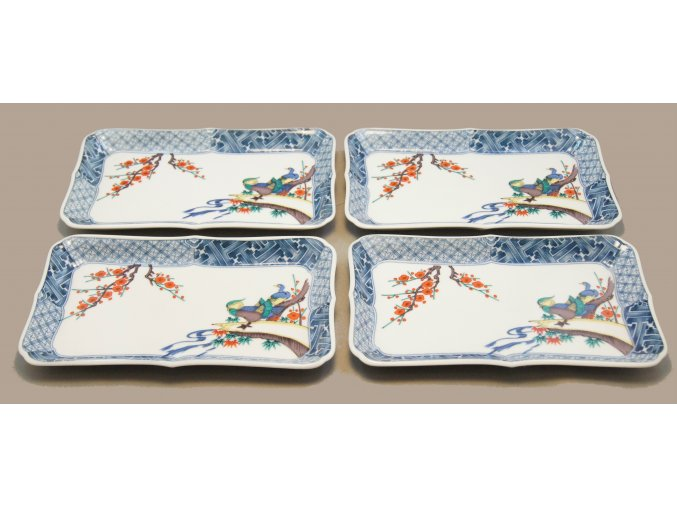 Kutani set 4 talířků na servírování sushi se vzory