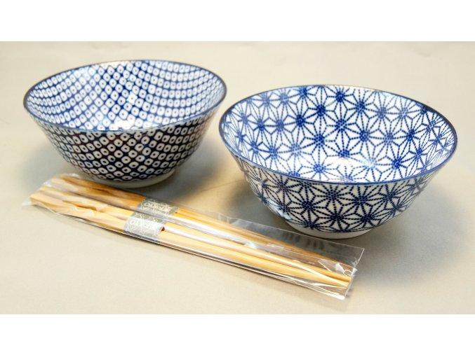 Tokyo set dvou misek bílo modré se vzory