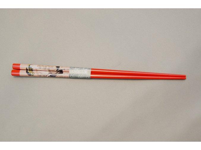Tokyo hůlky červeně lakované s obrázkem geiši ( 8888 )
