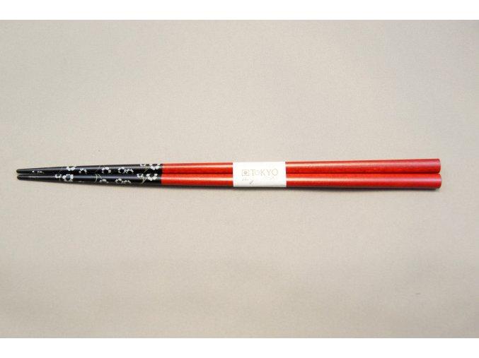 Tokyo hůlky lakované tmavě červené se vzory ( 8222 )