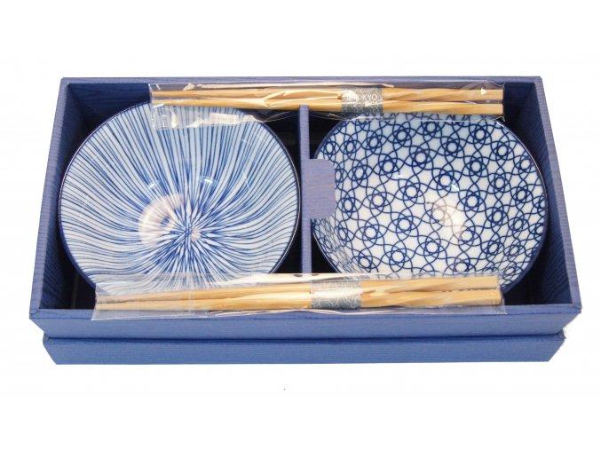 Tokyo set dvou misek bílo modré se vzory ( 16042 )