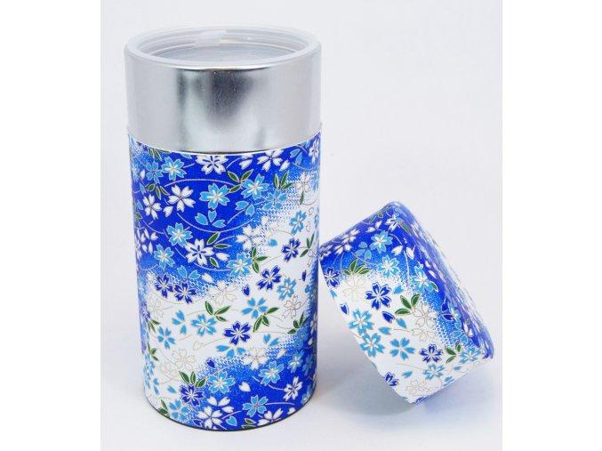 Dóza na čaj s modrými květinovými motivy