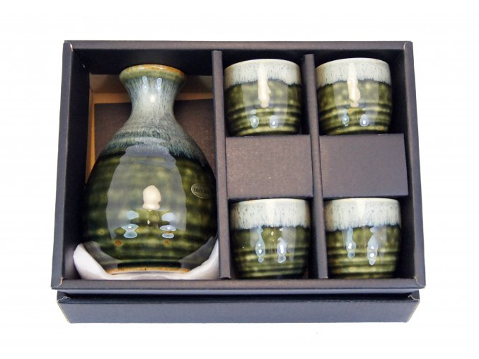 Fuji keramický set na Sake (zelený)