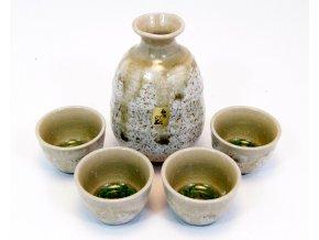 Fuji keramický set na sake ( krémovo zelený )