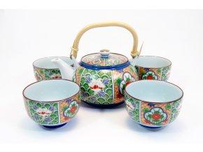 Fuji čajový set barevný se vzory květin ( NT6-BT )