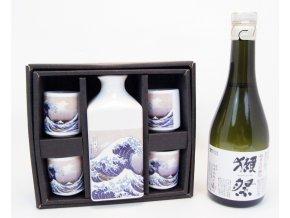 Sake Dárkový Set s motivy vlny a s rýžovým vínem Dassai 300 ml