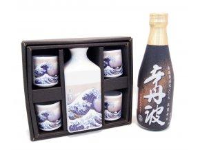 Sake Dárkový Set s motivy vlny a s rýžovým vínem Karatanba 300 ml
