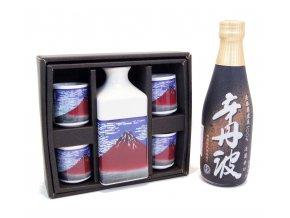 Sake Dárkový Set s motivy Fuji a s rýžovým vínem Karatanba 300 ml