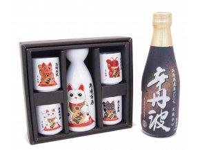 Sake Dárkový Set s kočičími motivy a s rýžovým vínem Karatanba 300 ml