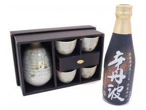 Sake Dárkový Set zelený s rýžovým vínem Karatanba 300 ml