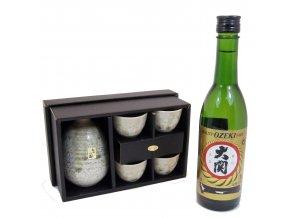 Sake Dárkový set zelený s rýžovým vínem Ozeki 375 ml