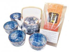 Čajový Dárkový set modrý se zeleným praženým čajem Hojicha 100 g