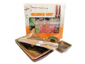 Sushi Dárkový set černohnědý s balíčkem na přípravu Sushi