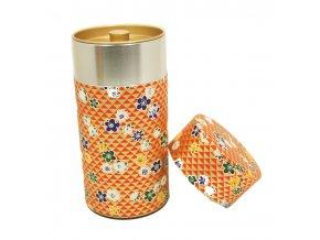 Dóza na čaj červeno zlatá s květinovými motivy