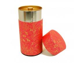 Dóza na čaj růžová s japonskými motivy