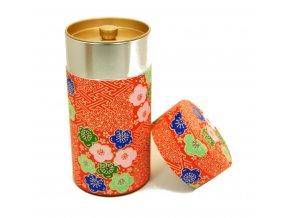 Dóza na čaj červená s japonskými motivy