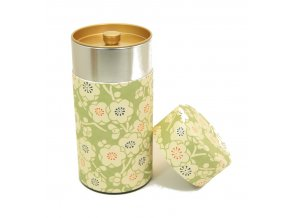 Dóza na čaj světle zelená s japonskými motivy